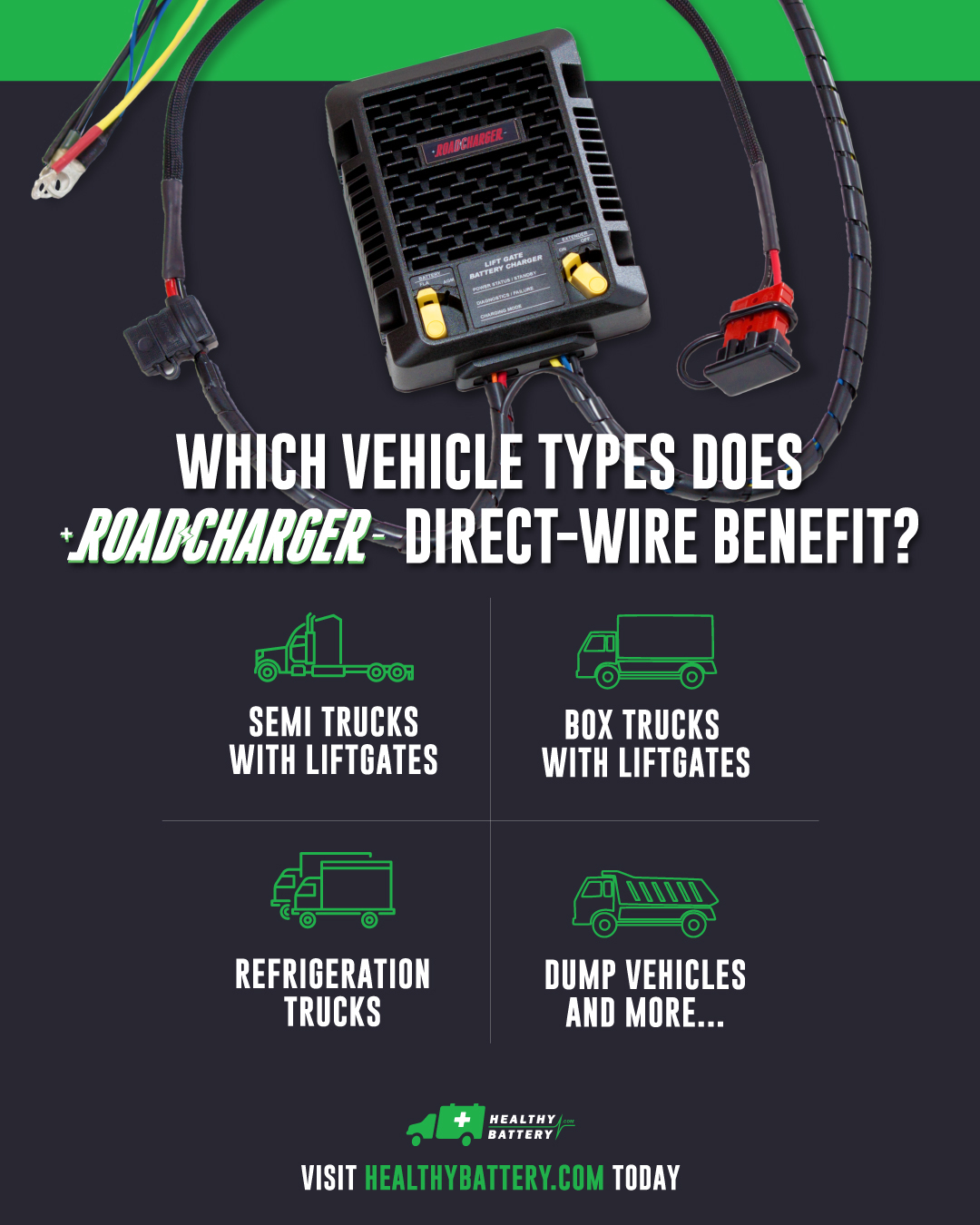 Benefits of RoadCharger direct-wire infographic